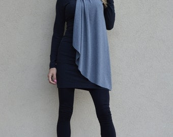 New Black And Gray Midi Dress, Maxi Plus Size Dress, Long Sleeves Extravagant Tunic, Party Little Dress by SSDfashion