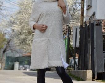 Extravagant Ivory Wool Dress, Maxi Women's Dress, Plus Size Wool Dress, Jumper Midi Dress by SSDfashion