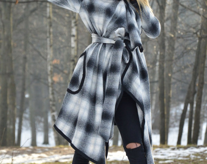 Black And White Plaid Cashmere Coat, Maxi Extravagant Wool Coat, Side Pockets And Belt By SSDfashion