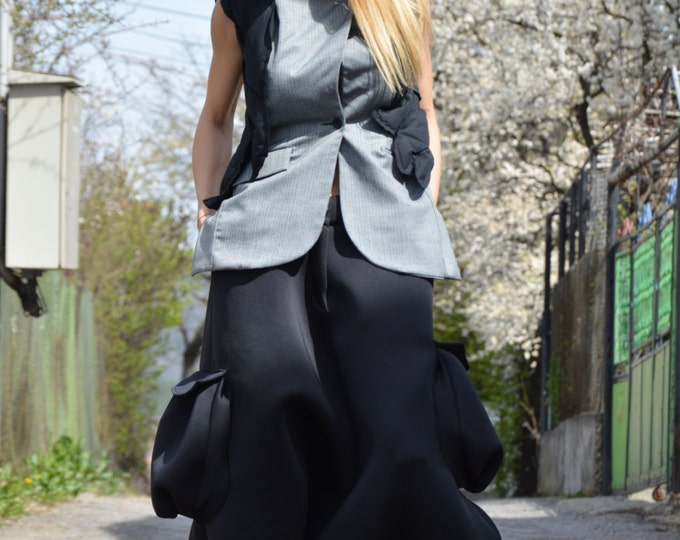 Black Neoprene Loose Pants, Drop Crotch Harem Pants, Extravagant Pants With Two Large Pokets by SSDfashion