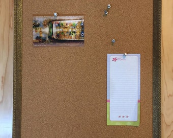 Corkboard with Painted Brass Finish Frame