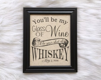 Cotton Anniversary Gift, Wine Whiskey, Personalized, Burlap, Customized, Anniversary Date, Linen Anniversary, Country Home Decor, Wedd