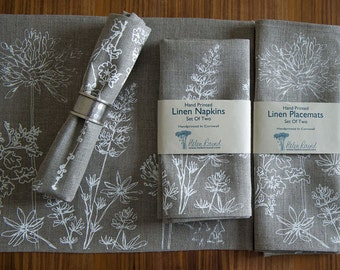 Garden Collection Hand Printed Linen Napkins Set of Two