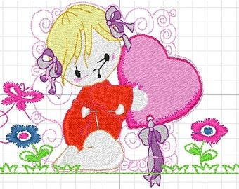 Machine embroidery girl
