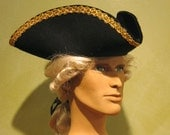 Black Tricorn Hat for Men Costume - Pirate Tricorn Hat Costume - Historical Men Hat made of Wool decorated with Trimming - Gold Black Cap 07