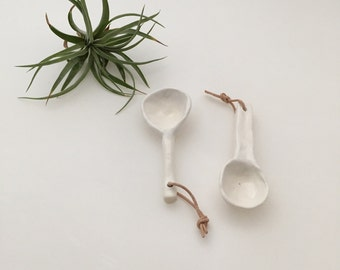 Handmade Clay Spoons with Leather Detail