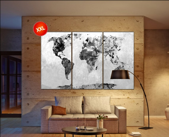 black white world map  print on canvas wall art black white world map Art Print artwork large world map Print home office decoration