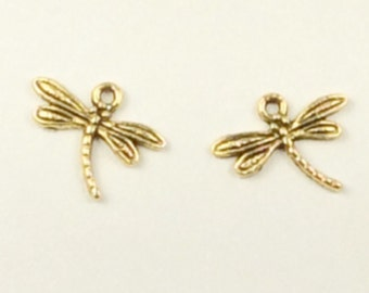 GOLD dragonfly 20mm charms,2- dragonfly gold beads, dragonflies,Antiqued gold charms, good bracelet charms, SS250, Ships USA