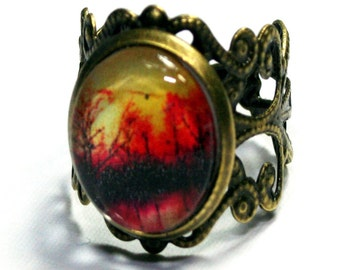 Vintage Style Sunset Brass Filigree Ring