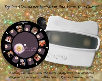 Viewmaster 3D Invitation, Save-The Date, Birth/Gender Announcement, Proposal Option