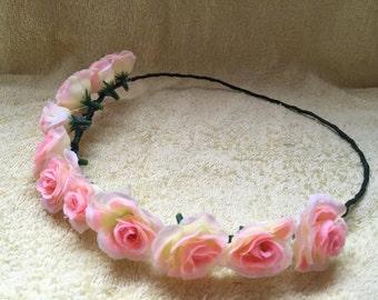 peach, pink floral crown, flower crown, floral headband, floral headpiece