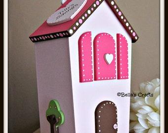 Personalised House money box for children. Handmade and handpainted Child's money box.