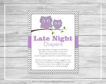 Owl Baby Shower Late Night Diapers Sign - Printable Baby Shower Late Night Diapers - Purple Owl Baby Shower - Late Night Diaper Sign - SP136