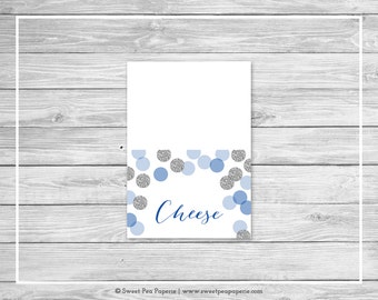 Blue and Silver Baby Shower Buffet Labels - Printable Baby Shower Buffet Labels - Blue and Silver Glitter Baby Shower - EDITABLE - SP124