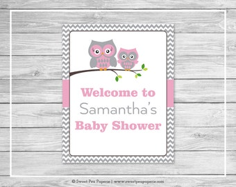Owl Baby Shower Welcome Sign - Printable Baby Shower Welcome Sign - Pink Owl Baby Shower - Owl Shower Welcome Sign - EDITABLE - SP134