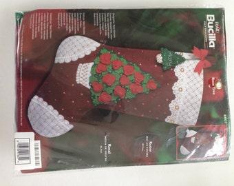 "BUCILLA 2003 Felt Christmas Stocking Kit~Christmas Stocking~Felt Stocking Kit~Christmas Craft~""ROSE TREE""~Stocking Kit~Needlework~Fancy Sock"