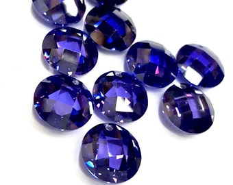 3 Pieces Dark Royal Purple Cubic Zirconia Pendants, Faceted Flattened Round, 12mm