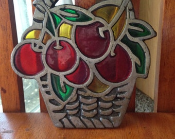 Vintage Stained Glass and Cast Iron Basket of Cherries Trivet