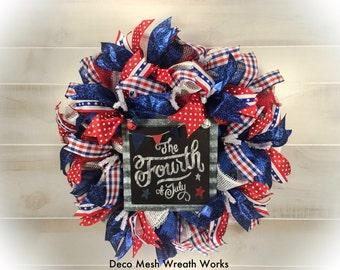 Primitive Wreath, Americana Wreath, Patriotic Wreath, Fourth of July Wreath, Holiday Wreath, America Wreath, Mesh Wreath, USA Wreath