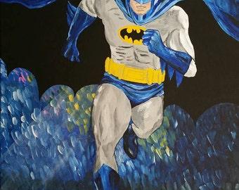"Batman Original painting on stretched canvas""16""x20"""