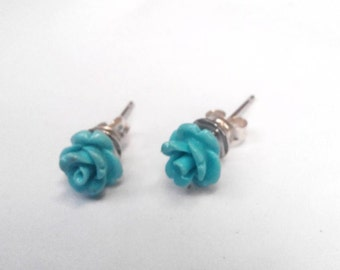 Turquoise studs , turquoise flower ,silver studs ,silver 925 ,bridesmaids gift ,gift for mom ,wedding