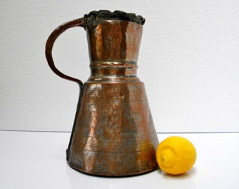 Antique Turkish Large Water Jug Pitcher Handmade Hammered Copper, Middle Eastern / Turkish Origin, late 19th – early 20th century Primitive