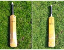 Cricket Bat by Gunn and Moore, Vintage Polympic Short Handle Treble Spring Hand Made England Willow Gum Wooden Bat English Summer Sport