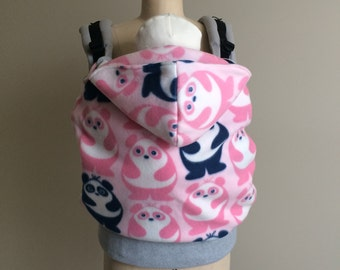 SALE! Babywearing Cold  Weather Cover for Soft Structure Carries (Ergo, Boba, Tula, Kinderpack) in Pink & Navy Panda Print