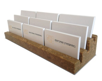 "Multiple Business Card Holder, Holds 9 different cards - Honed & Filled Travertine - 2"" Thick Slab- Stadium Design - Office Desk Home"