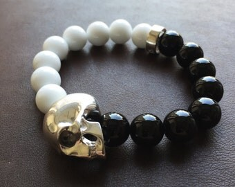 Silver Skull Bracelet W/ White Jade and Black Onyx
