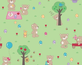 Riley Blake Designs Teddy Bear Picnic Green