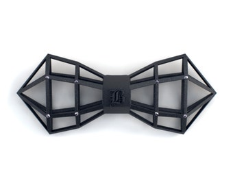Custom graphic black bow tie for Christmas - Monogram accessory with rhinestones - Avant garde - Unique design - Wireframer
