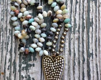 Bohemian Rhinestone Heart Amazonite Saucer Beads hand knotted by SeeJanesBeads