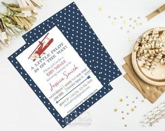 Little Pilot Baby Shower Invitation Digital File