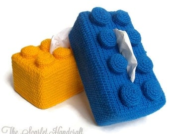 Lego Crochet Tissue Box Cover. Kleenex Box Cover. Crochet Building Block. Made to Order.