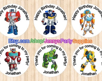 12PCS Rescue Bots Goody Bag Stickers, Rescue Bots Treat Bag Stickers, Goody Bag Labels, Rescue Bots Stickers, Personalized Stickers