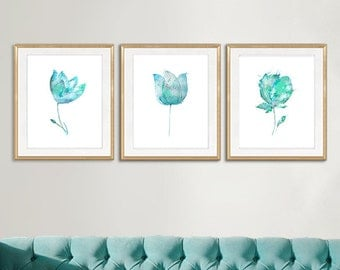 Turquoise flowers, watercolor flowers home decor, floral art, watercolor painting flowers, pink blue lilac, set of 3 prints - 20A/21A/65A