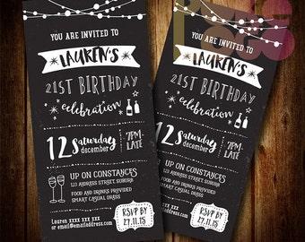 Birthday Invite 18th, 21st, 30th, 40th, 50th, 60th, Any Age, Chalkboard Black White, Digital Printable Invitation, Custom, DIY, fairy lights