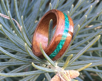 Bentwood Ring - Chechen w/ Malachite Inlay