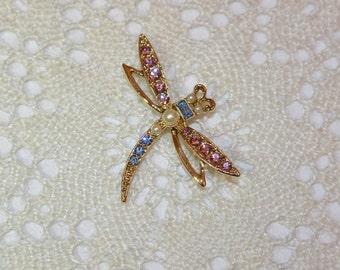 1928 Brooch Pin Rhinestone Dragonfly Goldtone