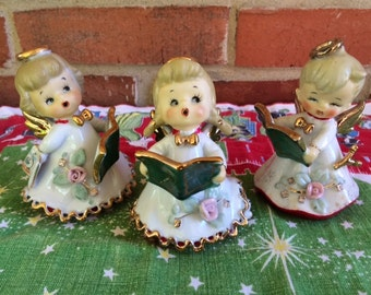 Set of 3 Lefton Porcelain Angel Children Bells