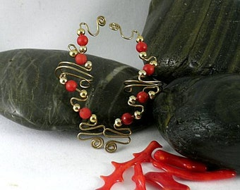 4B Red Bamboo Coral and Bronze Spiral Vine Ear Vines - Ear Cuffs