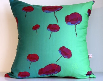 RED Poppy,THROW cushion cover,teal,lime green,blue,poppy,floral fabric,eco friendly,organic cotton,decorative pillow,cushion,43cm x 43cm