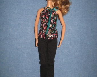 Barbie Doll Clothes, Barbie Clothes, Black Pants and Floral Top fits both Original and Tall Barbie