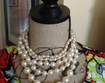 Necklace, Pearl Beads, Strand Necklace