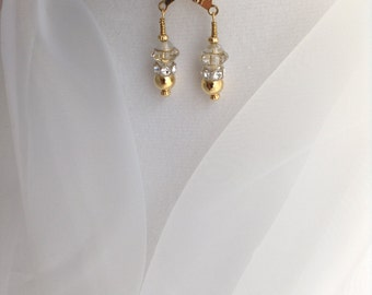 I Dream of Jeannie ~ Clear and Gold Crystal Swarovski Earrings