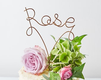 Name Cake Topper, metallic cake topper, Wire Cake Topper, Gold Cake Topper, Birthday Cake Topper, Word Cake Topper, cursive cake topper