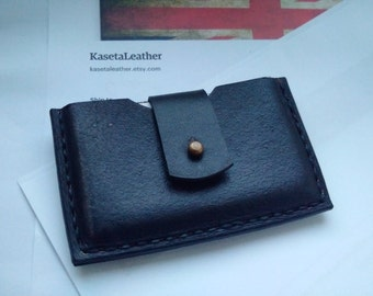 Slim leather card wallet, business card holder 'Black'