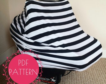 Car Seat Cover Nursing Cover Sewing Pattern, DIY Stretchy Baby Car Seat Cover Tutorial - make a cover like Milk Snob + Covered Goods!