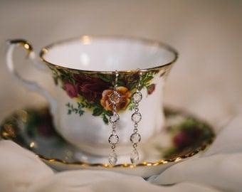 Wedding Drop Earrings Elegant Earrings Crystal Earrings Sterling Silver 925 Hooks Earrings Silver Jewelry Bridal Jewelry Dangle Wedding Drop